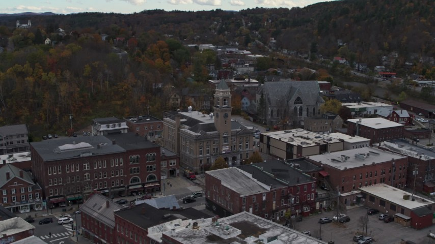 5.7K stock footage aerial video approach and orbit city hall and downtown buildings, Montpelier, Vermont Aerial Stock Footage | DX0002_219_031