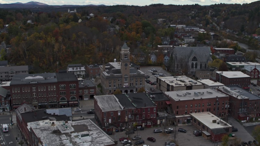 5.7K stock footage aerial video of flying away from city hall and downtown buildings, Montpelier, Vermont Aerial Stock Footage | DX0002_219_032