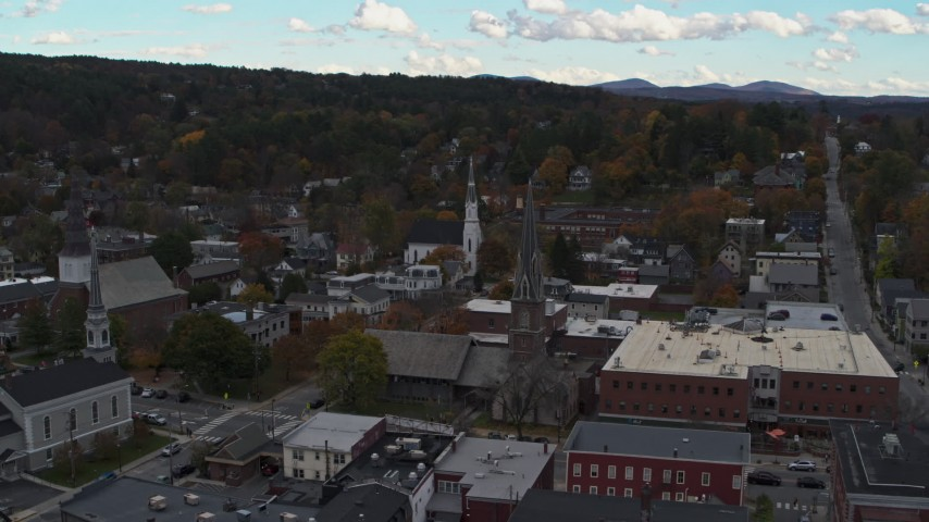 5.7K stock footage aerial video approach church steeples and downtown buildings, Montpelier, Vermont Aerial Stock Footage | DX0002_219_035