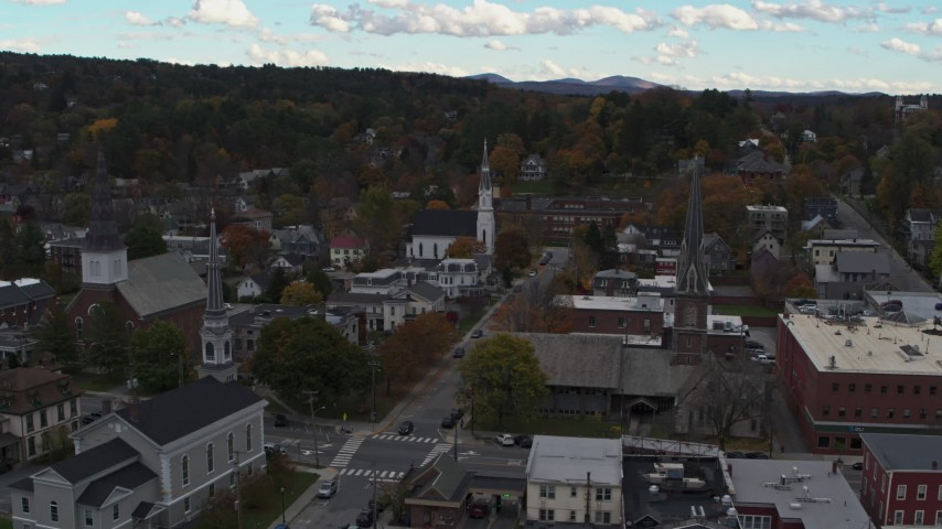 5.7K stock footage aerial video of a view of church steeples and downtown buildings, Montpelier, Vermont Aerial Stock Footage | DX0002_219_036