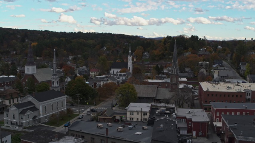 5.7K stock footage aerial video of ascending away from church steeples and downtown buildings, Montpelier, Vermont Aerial Stock Footage | DX0002_219_037