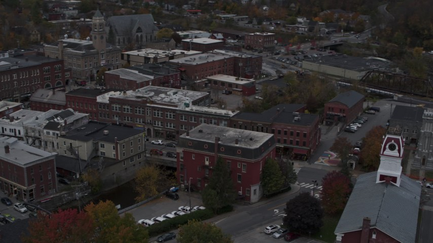5.7K stock footage aerial video of orbiting Asiana House and downtown buildings, Montpelier, Vermont Aerial Stock Footage | DX0002_219_039