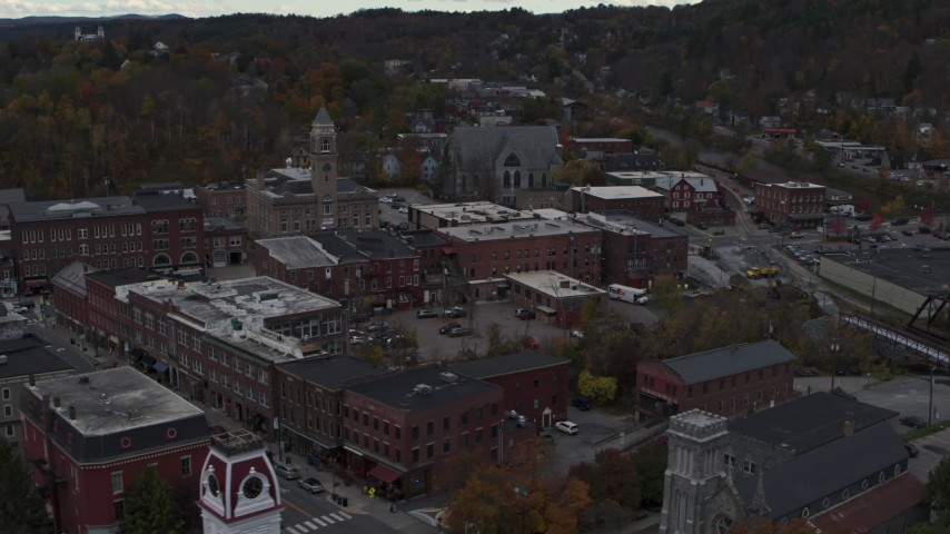 5.7K stock footage aerial video of flying by city hall in downtown, Montpelier, Vermont Aerial Stock Footage | DX0002_219_043