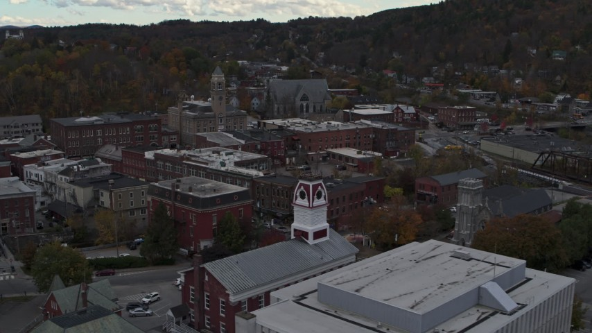5.7K stock footage aerial video of a reverse view of city hall in downtown, Montpelier, Vermont Aerial Stock Footage | DX0002_219_044