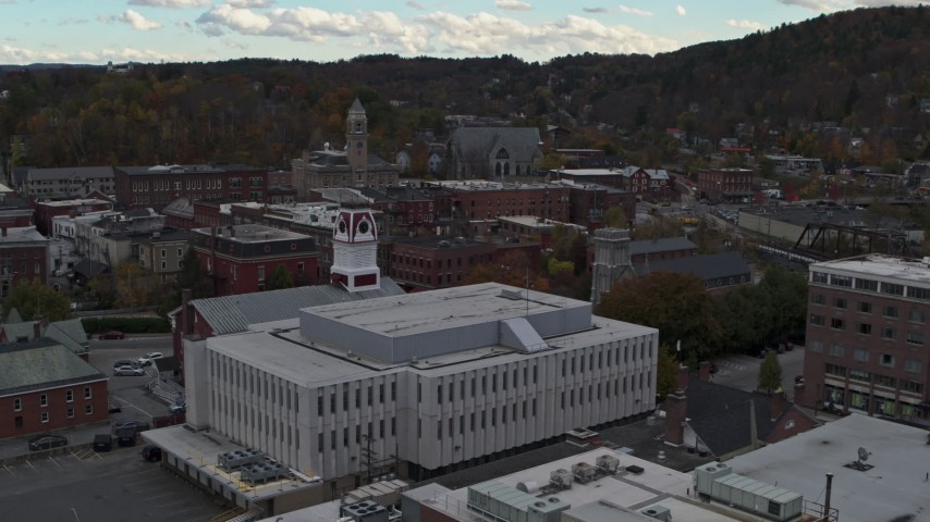 5.7K stock footage aerial video descend near the US Postal Service building in downtown, Montpelier, Vermont Aerial Stock Footage | DX0002_219_045