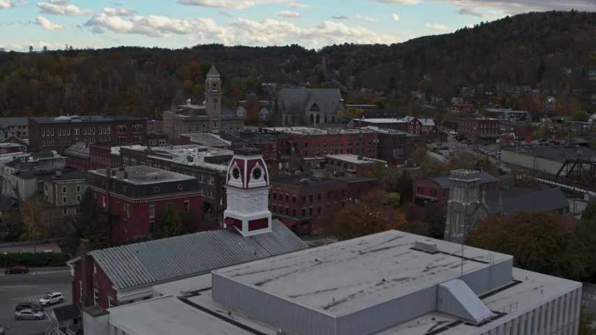 5.7K stock footage aerial video fly over US Postal Service building to approach city hall in downtown, Montpelier, Vermont Aerial Stock Footage | DX0002_219_046