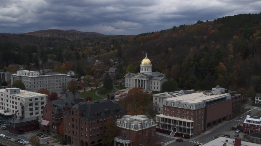 5.7K stock footage aerial video of a wide orbit of the capitol building and grounds, Montpelier, Vermont Aerial Stock Footage | DX0002_219_050