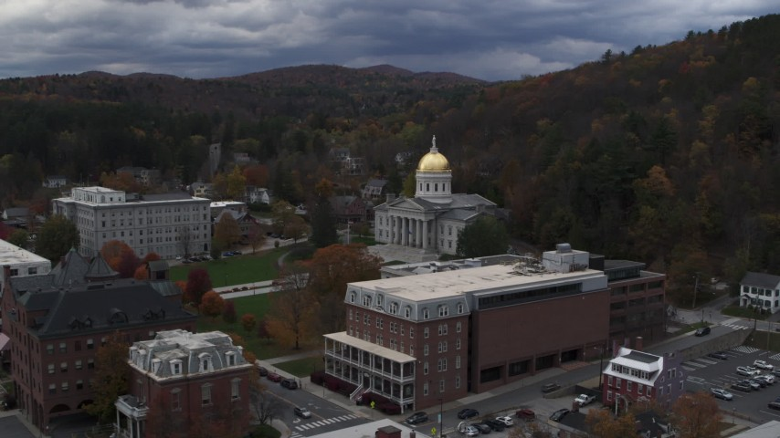 5.7K stock footage aerial video of flying toward and orbiting the capitol building and buildings around the grounds, Montpelier, Vermont Aerial Stock Footage | DX0002_219_052