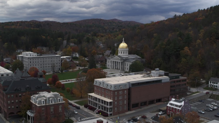 5.7K stock footage aerial video of circling the capitol building and buildings around the grounds, Montpelier, Vermont Aerial Stock Footage | DX0002_219_054