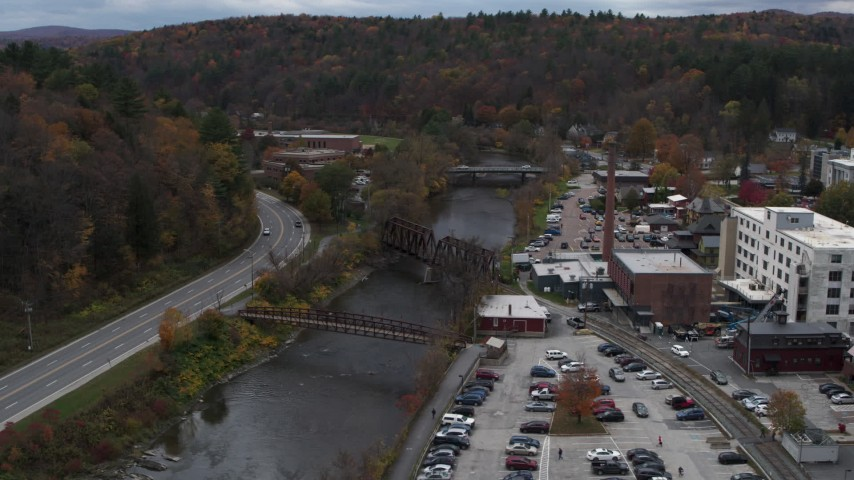 5.7K stock footage aerial video orbit bridges spanning the Winooski River, Montpelier, Vermont Aerial Stock Footage | DX0002_219_055