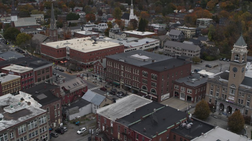 5.7K stock footage aerial video orbit the Blanchard Building in Montpelier, Vermont Aerial Stock Footage | DX0002_219_057