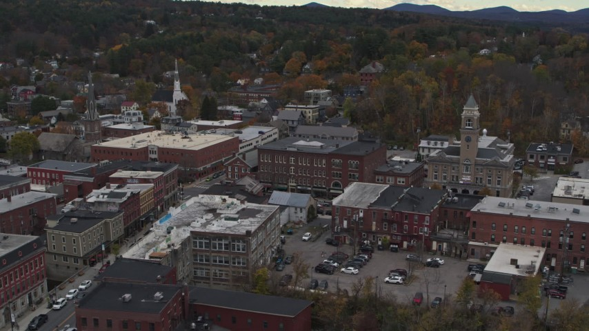 5.7K stock footage aerial video of flying way from the Blanchard Building and city hall in Montpelier, Vermont Aerial Stock Footage | DX0002_219_058