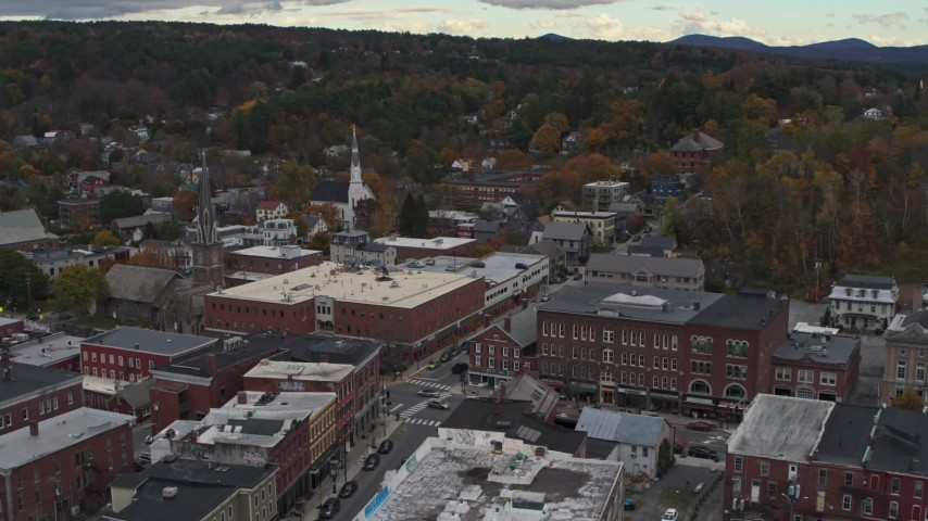 5.7K stock footage aerial video of approaching the Blanchard Building and City Center in Montpelier, Vermont Aerial Stock Footage | DX0002_219_059