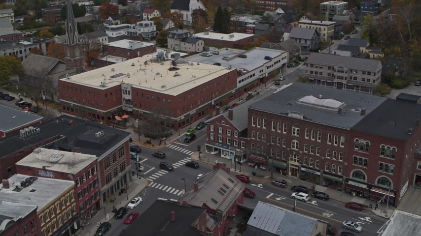 5.7K stock footage aerial video of the Blanchard Building and City Center on Main Street, Montpelier, Vermont Aerial Stock Footage | DX0002_219_060