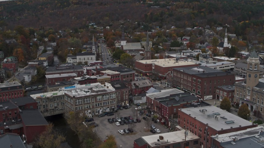 5.7K stock footage aerial video of orbiting brick buildings in downtown, Montpelier, Vermont Aerial Stock Footage | DX0002_219_061