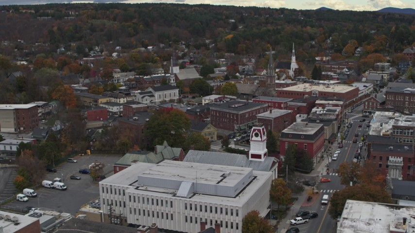 5.7K stock footage aerial video of orbiting brick buildings and church steeples in downtown, Montpelier, Vermont Aerial Stock Footage | DX0002_219_063