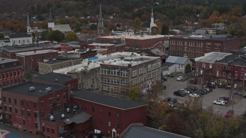 5.7K stock footage aerial video of brick buildings in downtown while descending, Montpelier, Vermont Aerial Stock Footage | DX0002_219_064