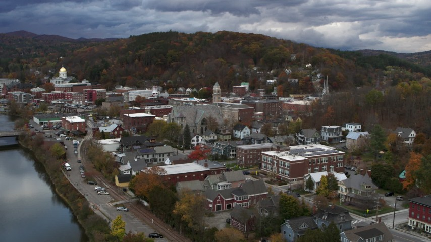 5.7K stock footage aerial video approach and orbit city hall at sunset, Montpelier, Vermont Aerial Stock Footage | DX0002_220_003
