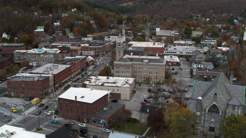 5.7K stock footage aerial video a stationary view of city hall at sunset, Montpelier, Vermont Aerial Stock Footage | DX0002_220_004