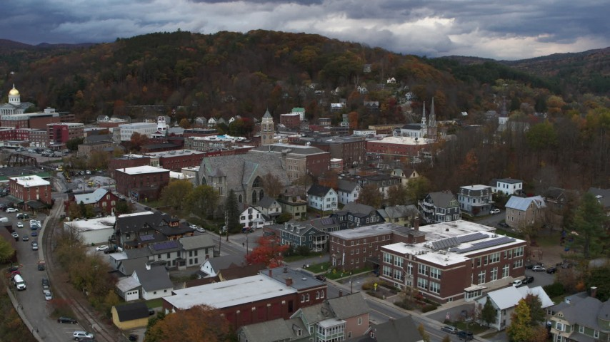 5.7K stock footage aerial video of flying away from city hall at sunset, Montpelier, Vermont Aerial Stock Footage | DX0002_220_005