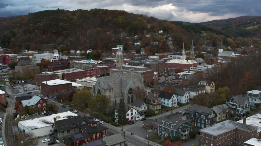 5.7K stock footage aerial video of circling city hall and brick buildings at sunset, Montpelier, Vermont Aerial Stock Footage | DX0002_220_008