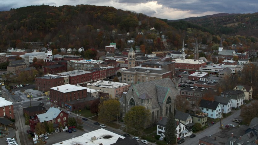5.7K stock footage aerial video approach and orbit city hall and brick buildings at sunset, Montpelier, Vermont Aerial Stock Footage | DX0002_220_012