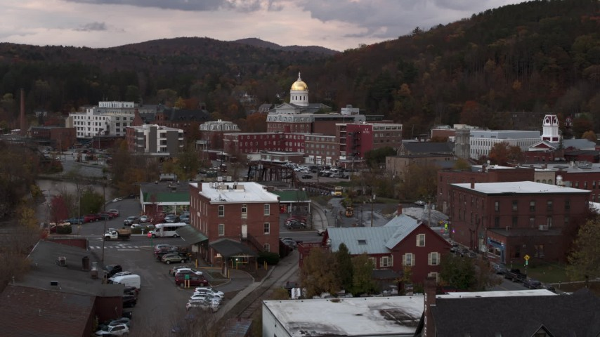 5.7K stock footage aerial video a view of the capitol dome at sunset during descent, Montpelier, Vermont Aerial Stock Footage | DX0002_220_029