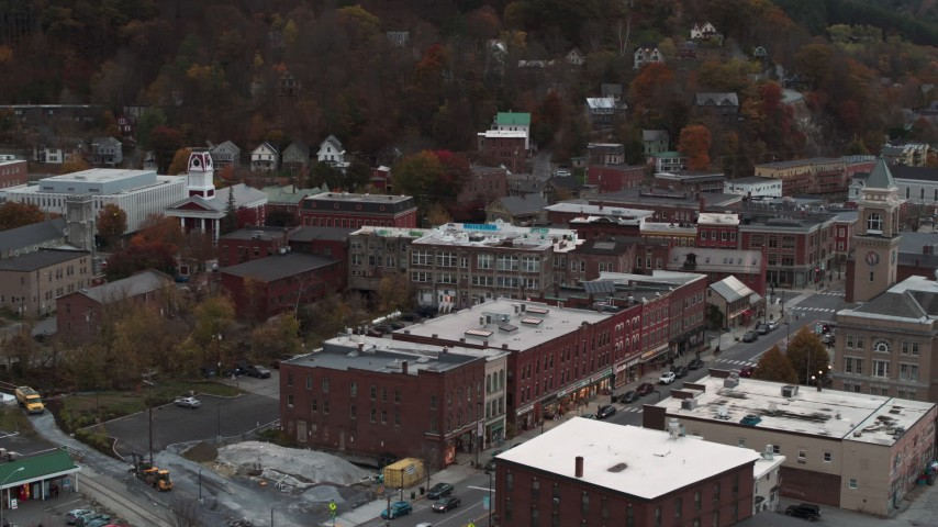 5.7K stock footage aerial video of Union Block buildings near city hall at sunset, Montpelier, Vermont Aerial Stock Footage | DX0002_220_030