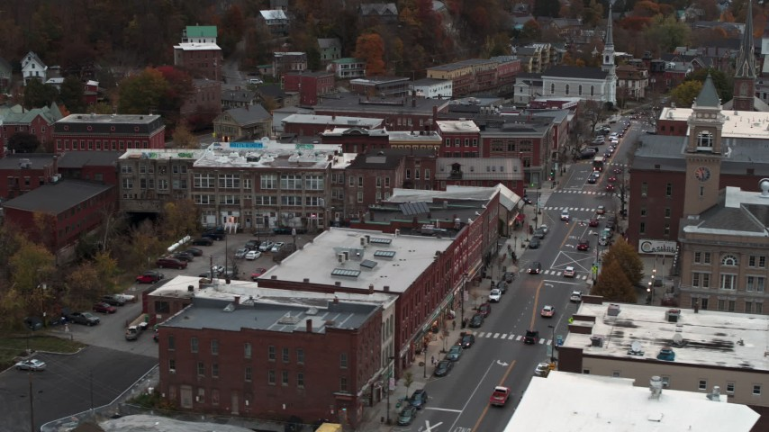 5.7K stock footage aerial video of flying by Union Block buildings, Main Street, and city hall at sunset, Montpelier, Vermont Aerial Stock Footage | DX0002_220_031