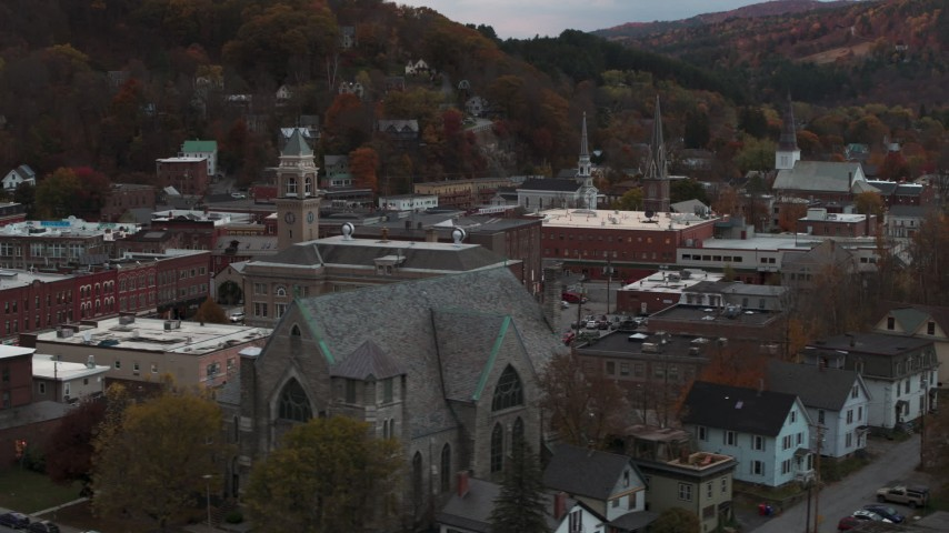 5.7K stock footage aerial video of descend and flyby church and city hall at sunset, Montpelier, Vermont Aerial Stock Footage | DX0002_220_034
