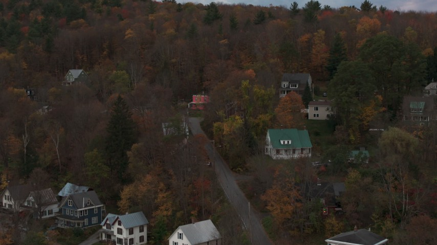 5.7K stock footage aerial video of orbiting homes on a hill at sunset, Montpelier, Vermont Aerial Stock Footage | DX0002_220_039