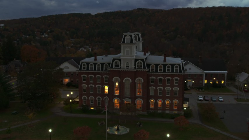 5.7K stock footage aerial video of orbiting the Vermont College of Fine Arts at twilight, Montpelier, Vermont Aerial Stock Footage | DX0002_220_045