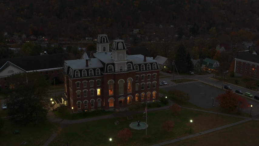 5.7K stock footage aerial video of circling the Vermont College of Fine Arts at twilight, Montpelier, Vermont Aerial Stock Footage | DX0002_220_046