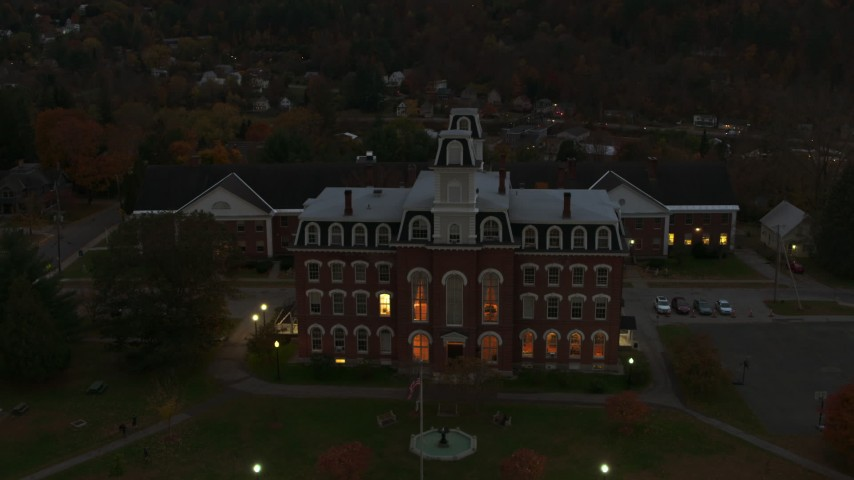 5.7K stock footage aerial video of the Vermont College of Fine Arts at twilight, Montpelier, Vermont Aerial Stock Footage | DX0002_220_047