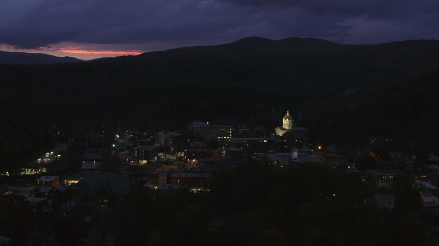 5.7K stock footage aerial video of the capitol dome lit up at twilight, Montpelier, Vermont Aerial Stock Footage | DX0002_220_058