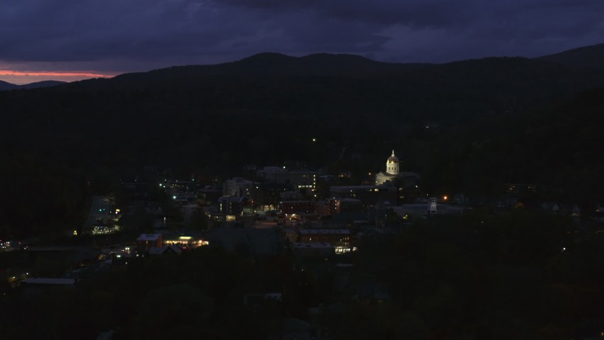 5.7K stock footage aerial video of a view of the capitol dome lit up at twilight, Montpelier, Vermont Aerial Stock Footage | DX0002_220_059