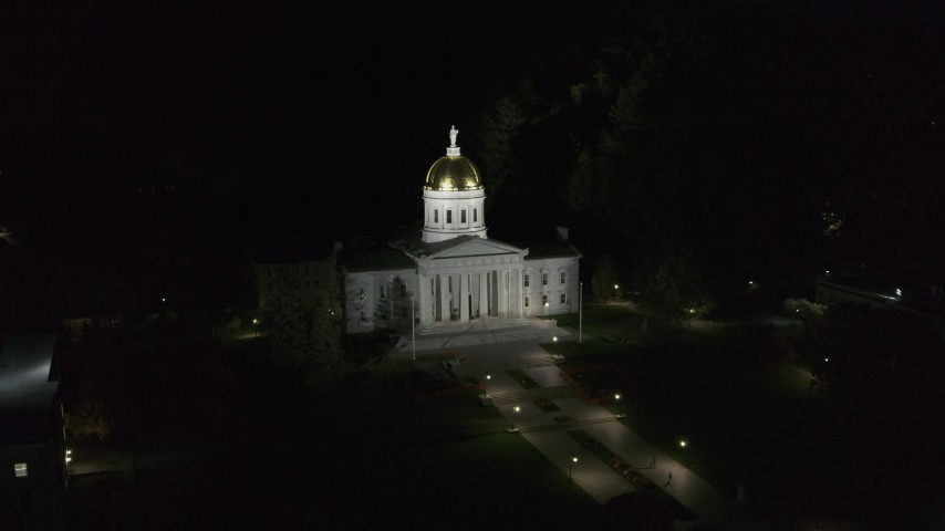 5.7K stock footage aerial video of orbiting the Vermont State Capitol at night, Montpelier, Vermont Aerial Stock Footage | DX0002_221_001