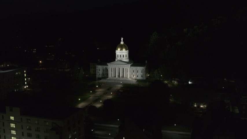 5.7K stock footage aerial video of circling the Vermont State Capitol at night, Montpelier, Vermont Aerial Stock Footage | DX0002_221_002