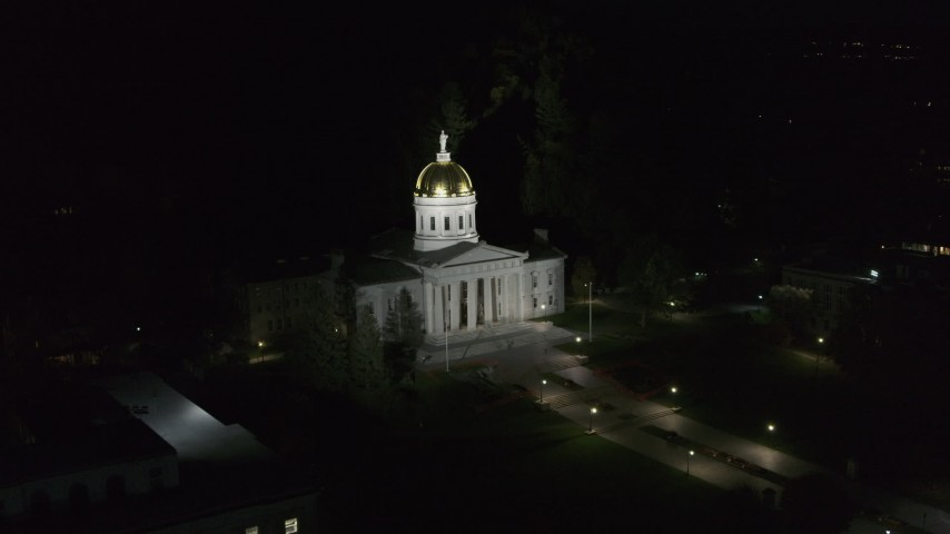 5.7K stock footage aerial video of an orbit of the Vermont State Capitol at night, Montpelier, Vermont Aerial Stock Footage | DX0002_221_003