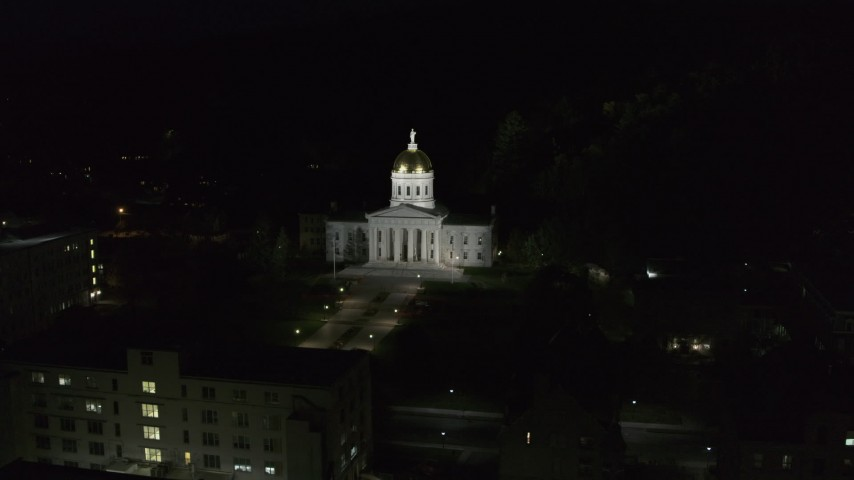 5.7K stock footage aerial video of orbiting the front of the Vermont State Capitol at night, Montpelier, Vermont Aerial Stock Footage | DX0002_221_005