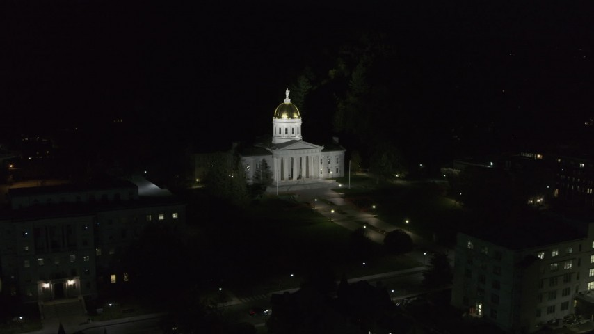 5.7K stock footage aerial video of circling the front of the Vermont State Capitol at night, Montpelier, Vermont Aerial Stock Footage | DX0002_221_006