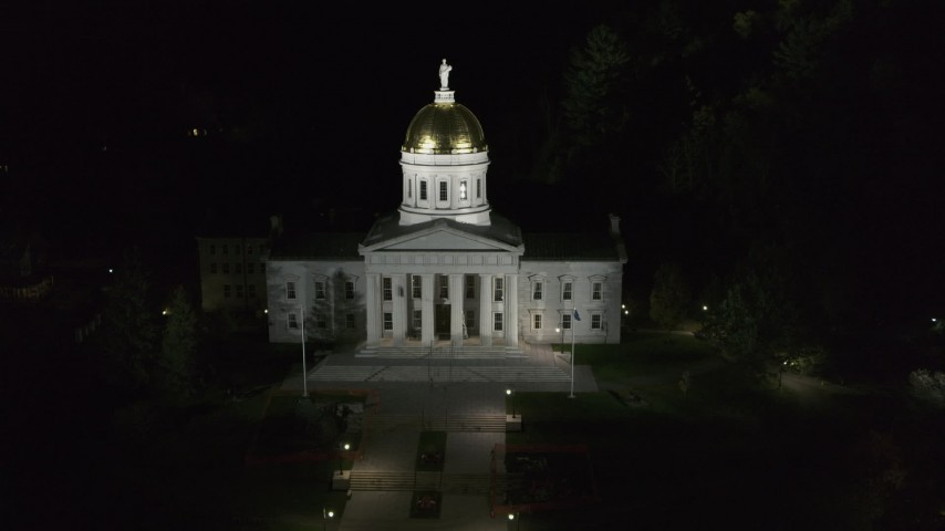 5.7K stock footage aerial video of the front of the Vermont State Capitol at night, Montpelier, Vermont Aerial Stock Footage | DX0002_221_010