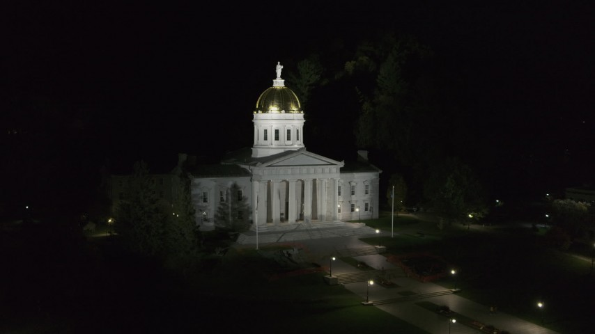 5.7K stock footage aerial video orbit the front of the Vermont State Capitol at night, Montpelier, Vermont Aerial Stock Footage | DX0002_221_011