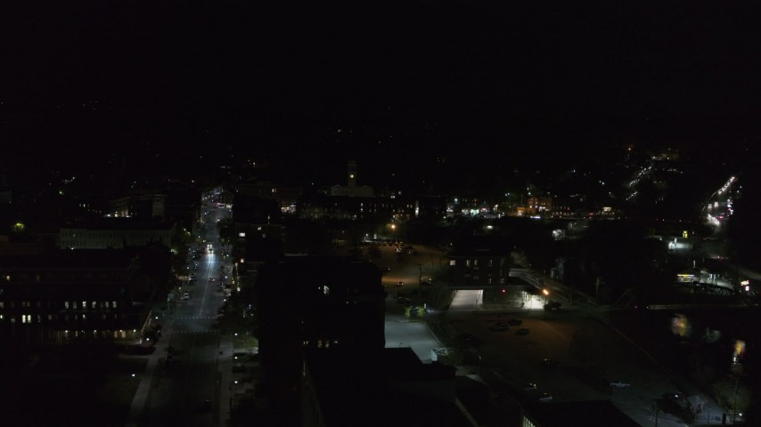 5.7K stock footage aerial video of orbiting city buildings in downtown at night, Montpelier, Vermont Aerial Stock Footage | DX0002_221_013