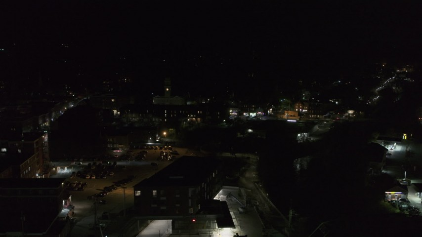 5.7K stock footage aerial video of flying away from city buildings in downtown at night, Montpelier, Vermont Aerial Stock Footage   DX0002_221_015