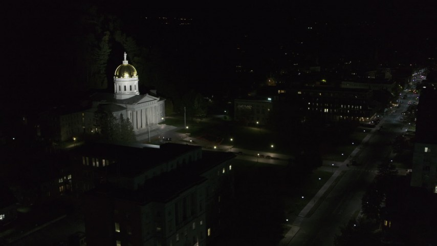 5.7K stock footage aerial video of the steps leading up to the Vermont State Capitol at night, Montpelier, Vermont Aerial Stock Footage | DX0002_221_016