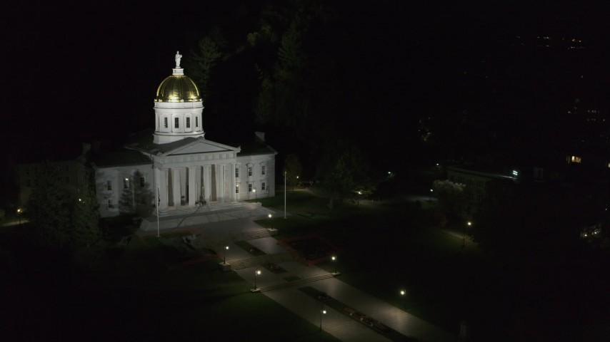 5.7K stock footage aerial video fly around a dark building for a view of the Vermont State Capitol at night, Montpelier, Vermont Aerial Stock Footage | DX0002_221_018