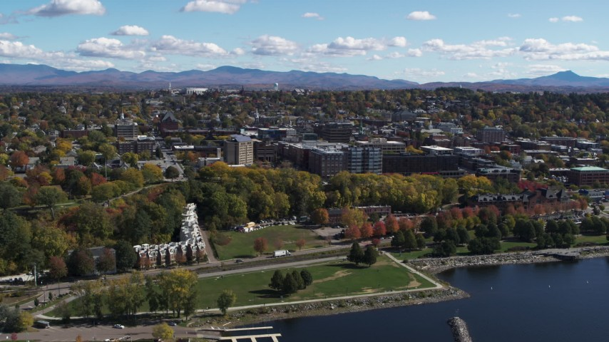 5.7K stock footage aerial video of the downtown area of the city seen from park in Burlington, Vermont Aerial Stock Footage | DX0002_222_001