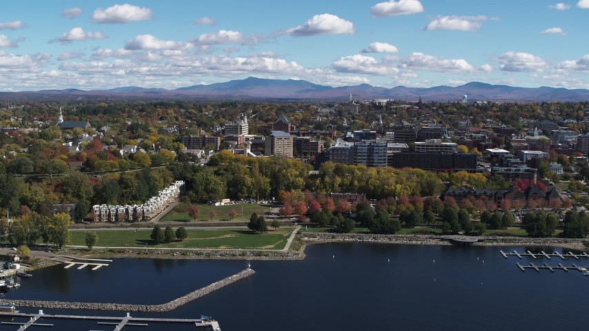 5.7K stock footage aerial video of orbiting the downtown area and Waterfront Park in Burlington, Vermont Aerial Stock Footage | DX0002_222_002