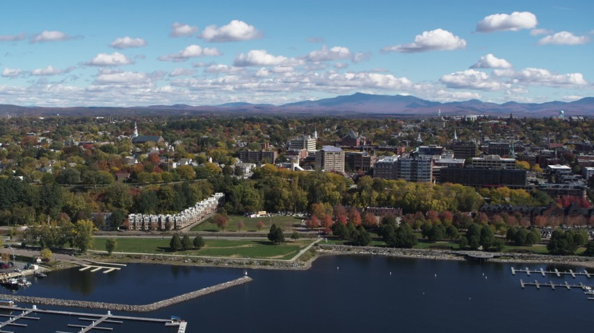 5.7K stock footage aerial video of orbiting Waterfront Park by the downtown area in Burlington, Vermont Aerial Stock Footage | DX0002_222_003